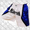 FIGHTERS - Shorts de Muay Thai / Blanc-Bleu