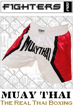 FIGHTERS - Muay Thai Shorts / Weiss-Rot / Small