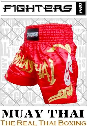 FIGHTERS - Muay Thai Shorts / Rot-Gold / Small