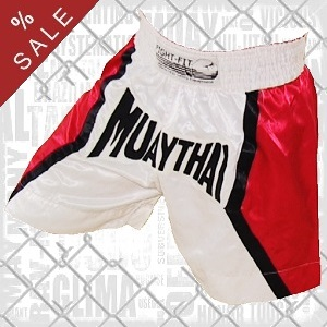 FIGHTERS - Muay Thai Shorts / Weiss-Rot / XL